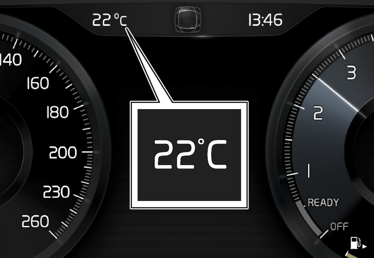 P6-XC40-1746-Outside temperature gauge 12 inch driver display