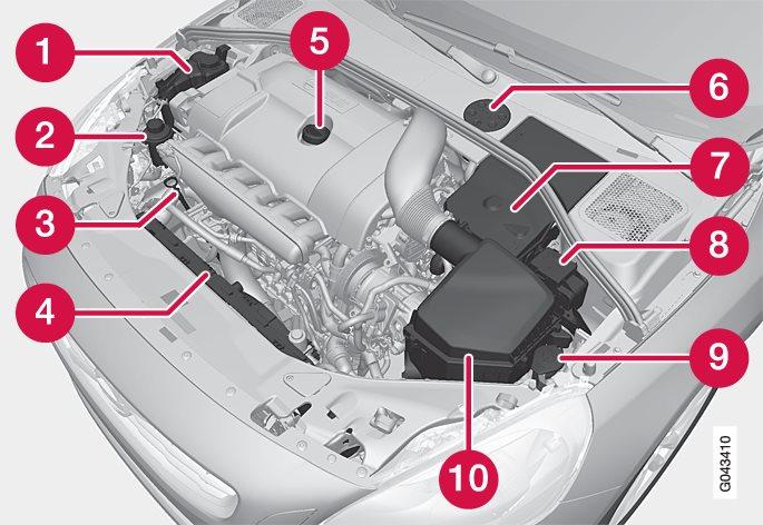 Mootoriruumi välimus võib olenevalt mootoritüübist erineda.