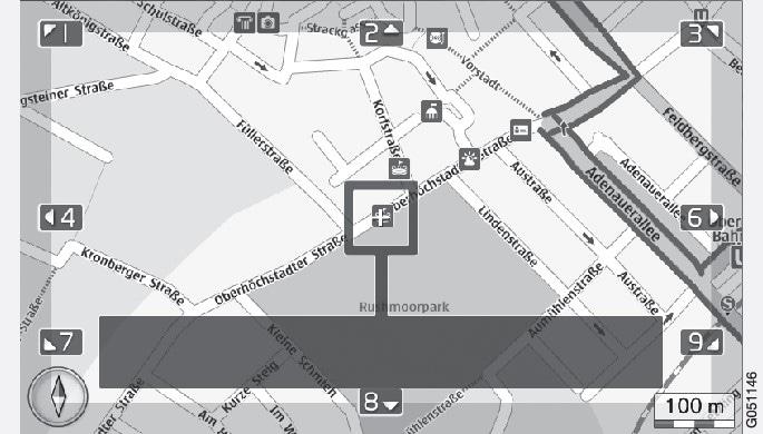 Rulleindstilling med trådkorsVælg, om trådkorsets/markørens position skal vises med navn eller GPS-koordinater, se kortvalgkortvalg ..