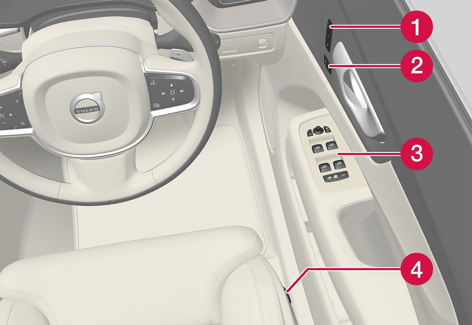 P5-1717-XC60-Controls inside right door and seat overview RHD