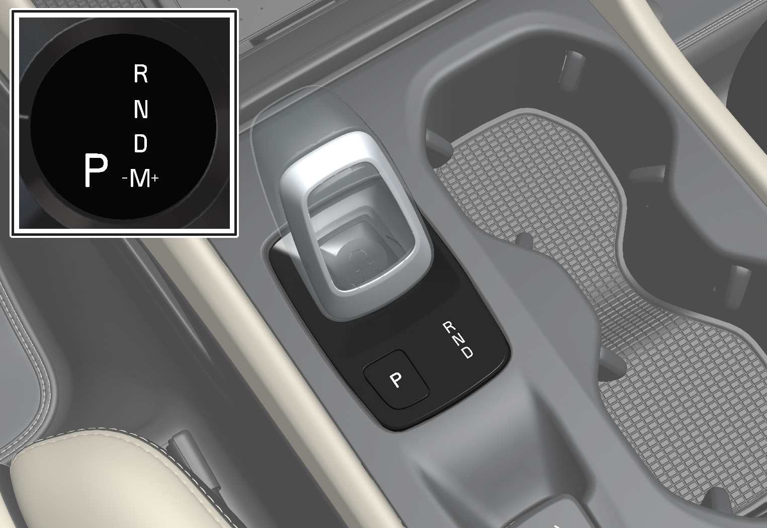 P6-1917-XC40-Crystal gear shifter + information in driver display