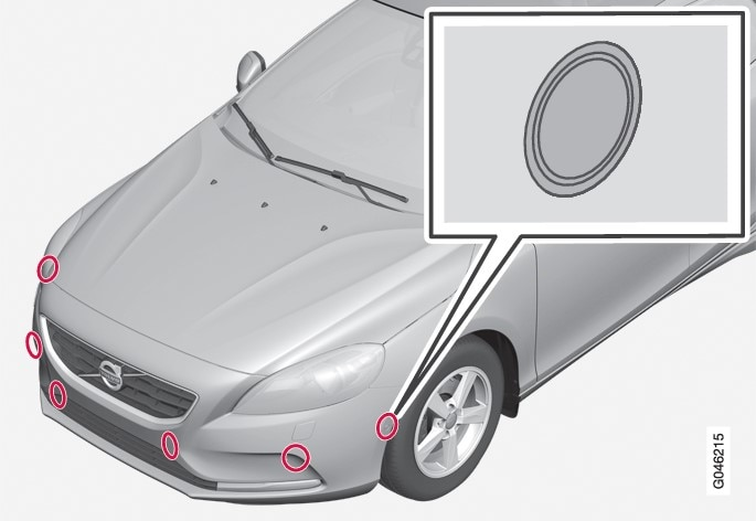 The PAP sensors are located in the bumpersNOTE: The illustration is schematic - details may differ depending on car model. - 6 front and 4 rear.