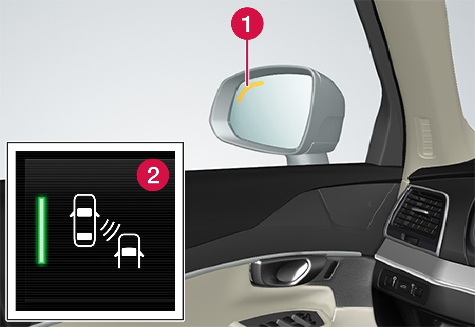 Location of Blind Spot Information lamp.