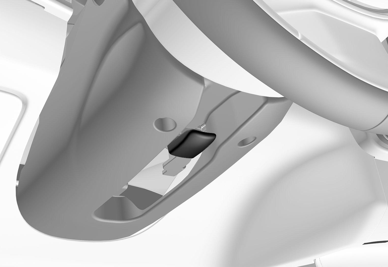 P5-1617-Adjusting steering wheel with knee airbag
