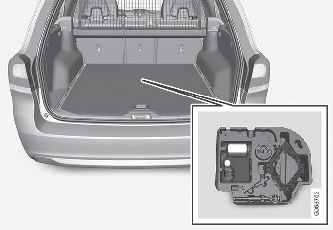 The tools are located in the storage compartment in the cargo area.