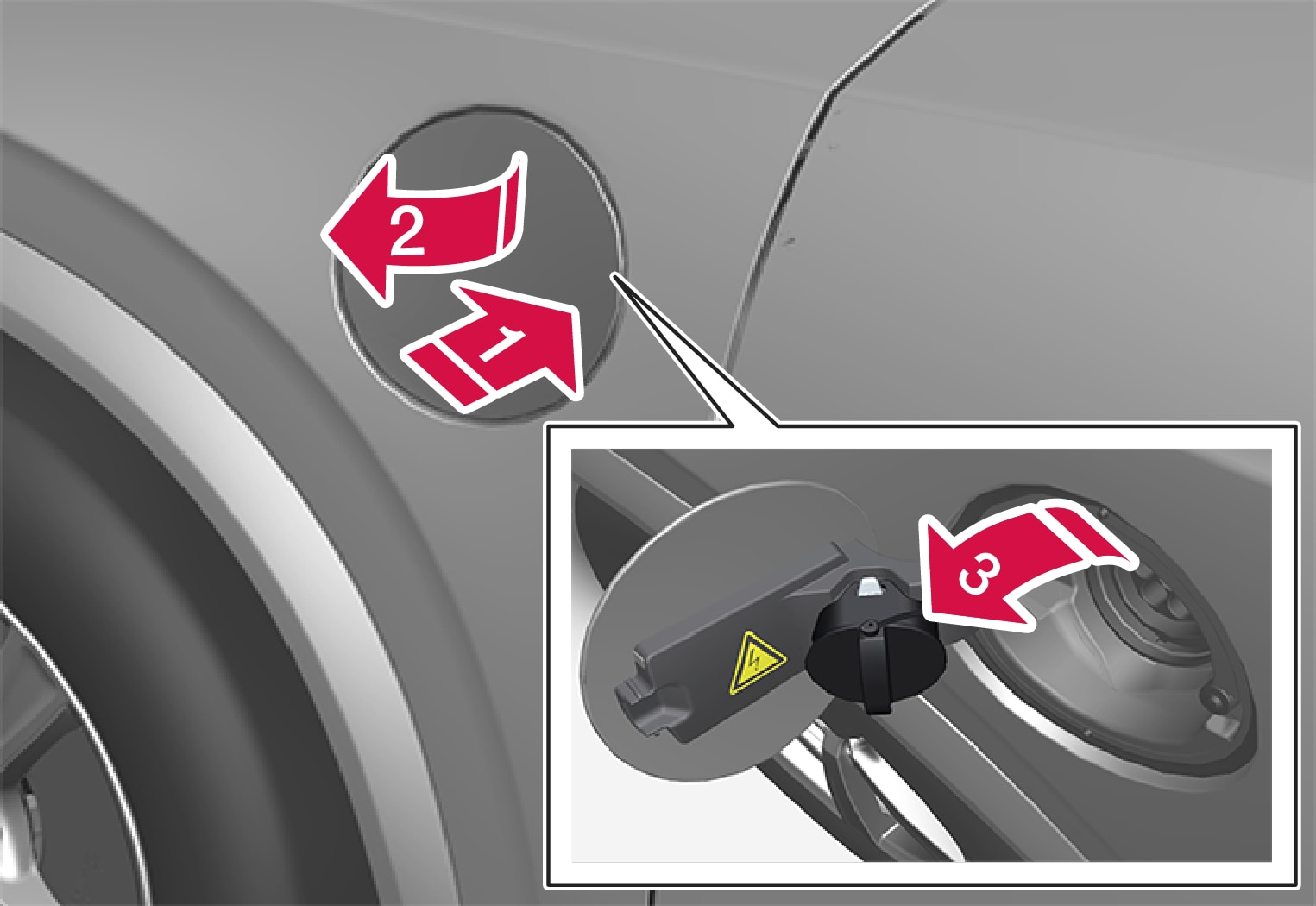 P5-XC90H-1519-Opening and closing the hatch for charging the input socket