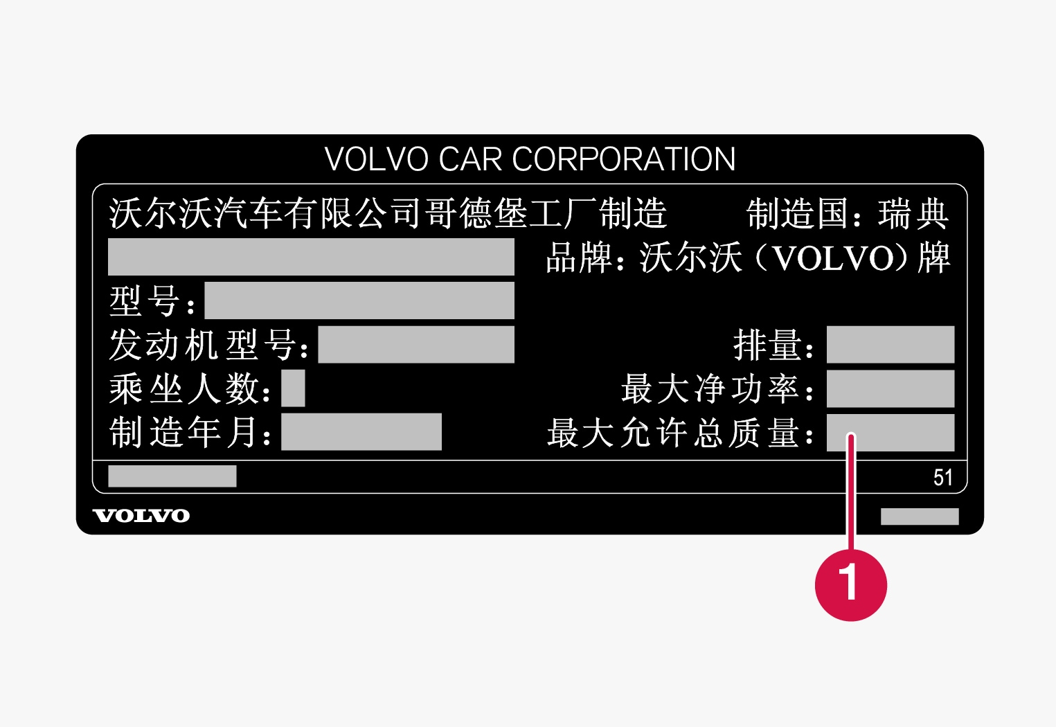 P5-1507-VIN label for vehicles imported to China, max weight