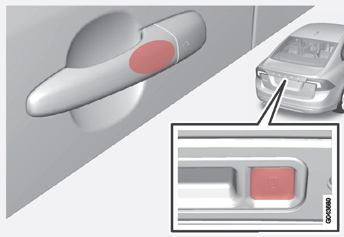 Сенсорна ділянка на ручках зовнішніх дверцят, а також прогумована кнопка поруч із натискною пластиною кришки багажника.