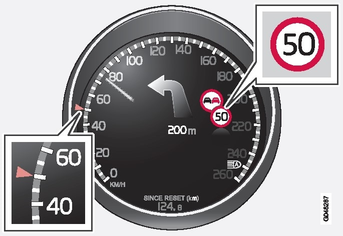 Recorded speed informationRoad signs shown in the combined instrument panel are market-dependent - the illustrations in these instructions only show a few examples..