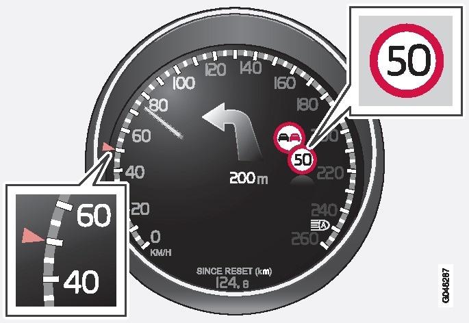 Registrerede hastighedsoplysningerHvilke trafikskilte, der vises på kombiinstrumentet, afhænger af markedet – denne instruktionsbogs illustrationer viser kun nogle eksempler..