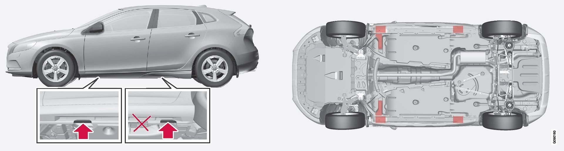 Jacking points (arrows) for the jack that belongs to the car and lifting points (marked in red).