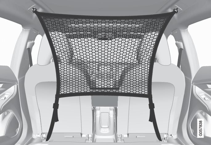 The cargo net is fitted into four mounting points.