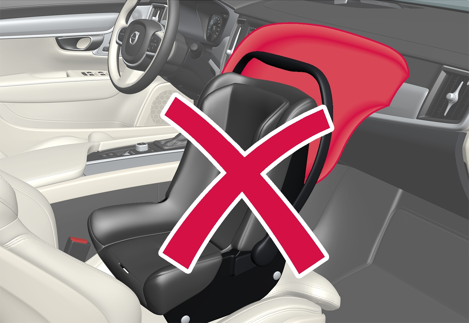 P5-1617-S90/V90–Safety–Child seat and airbag