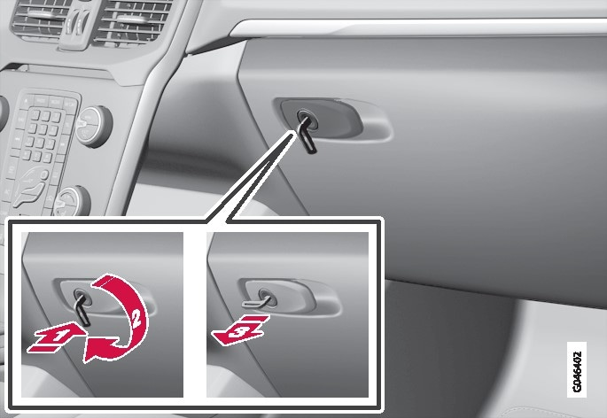 P4-1220-Y55X-Locking, glove compartment