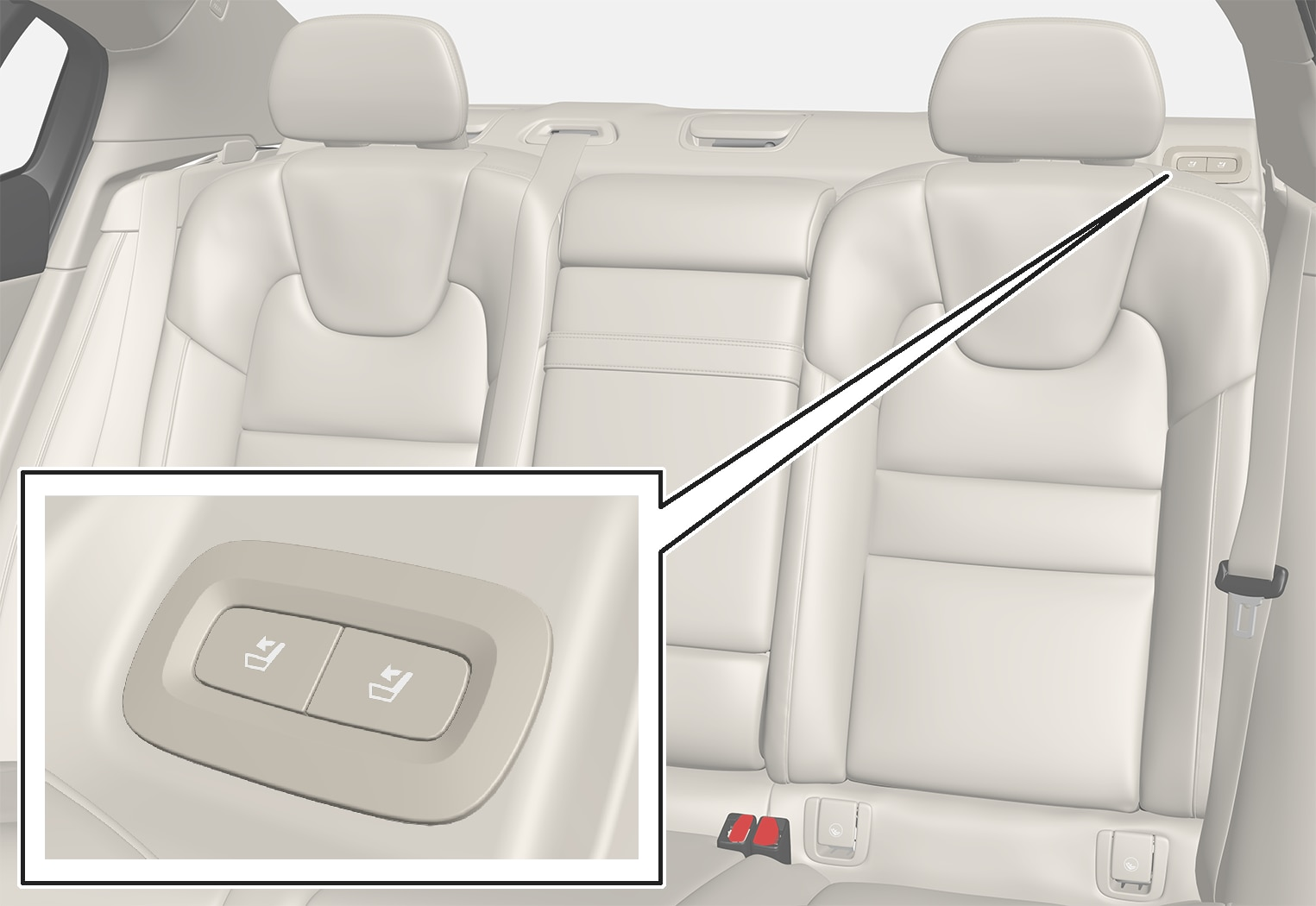 P5-1817-S60-Back seat - Buttons for folding seat