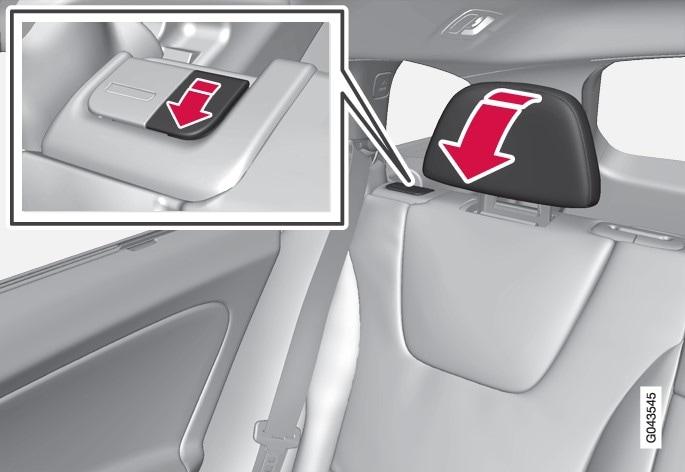 P3-V60 V60H Manually folding the rear head restraint