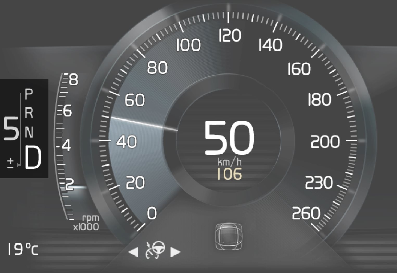 Gear shift indicator in the 8-inch driver display.