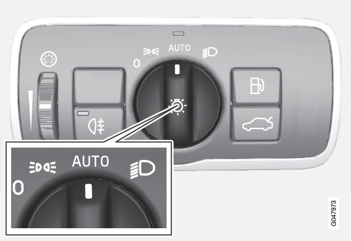 Knob for headlamp control in AUTO position.