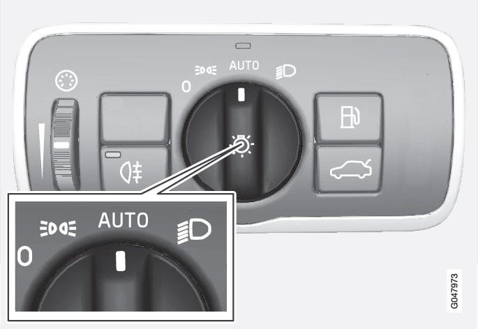 頭燈控制專用旋鈕位於AUTO位置。