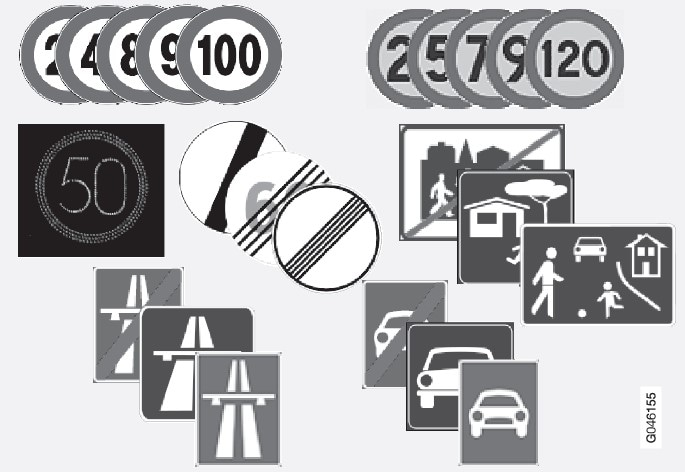 Examples of readable speed related signsRoad signs shown in the combined instrument panel are market-dependent - the illustrations in these instructions only show a few examples..