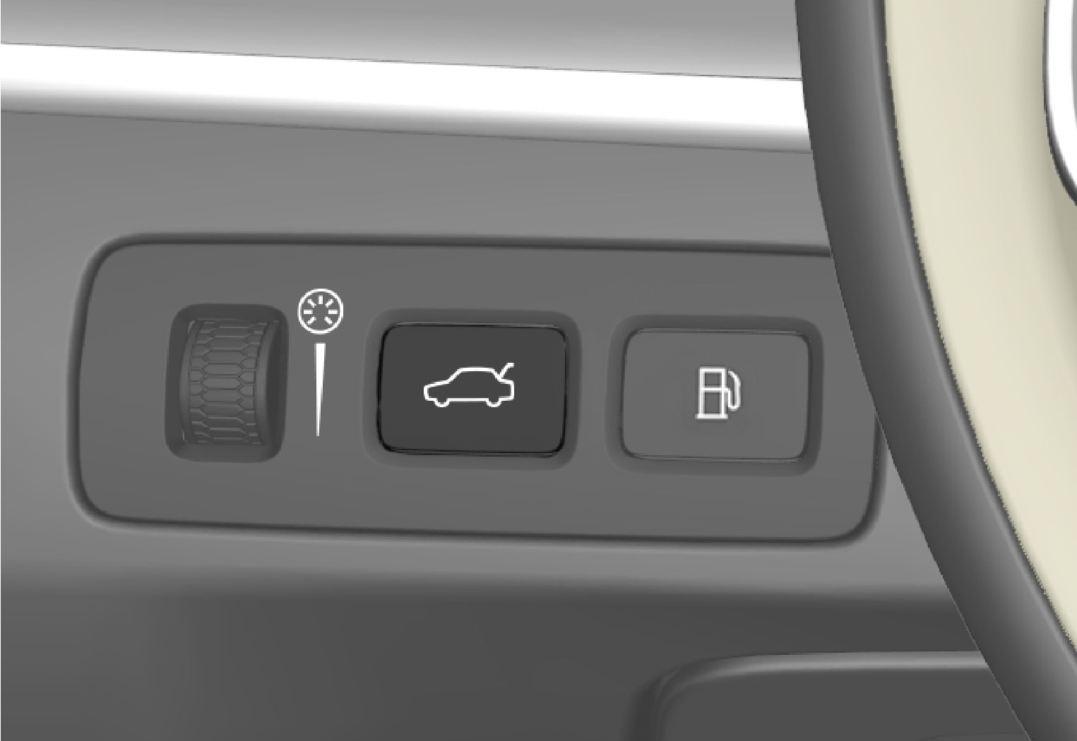 P5-1507 Unlock/open tailgate with button from inside (with fuel filler cap button)