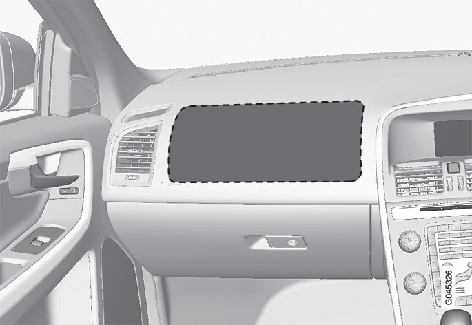 Location of the front passenger airbag in a right-hand drive car.