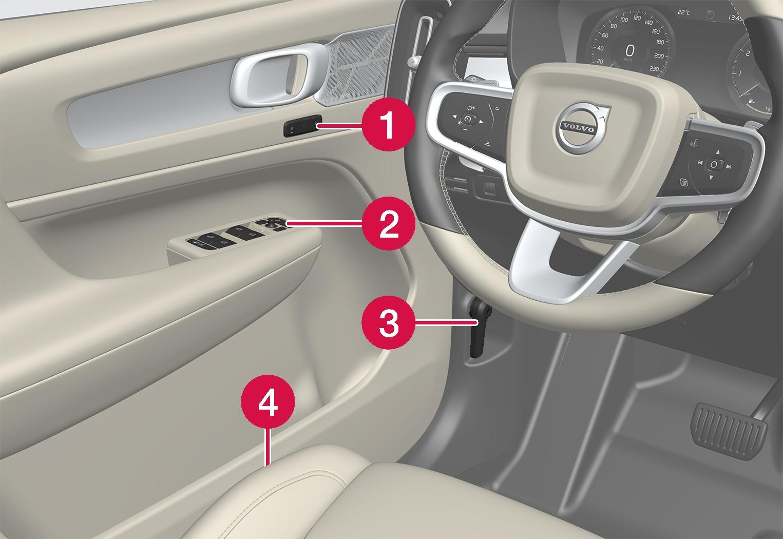 P6-XC40-1746-Controls inside left door and seat, left hand drive