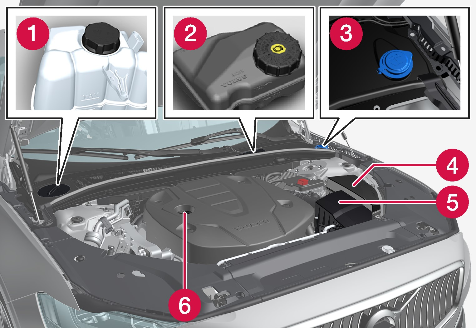 P5-1617-S90/V90 Engine compartment overview