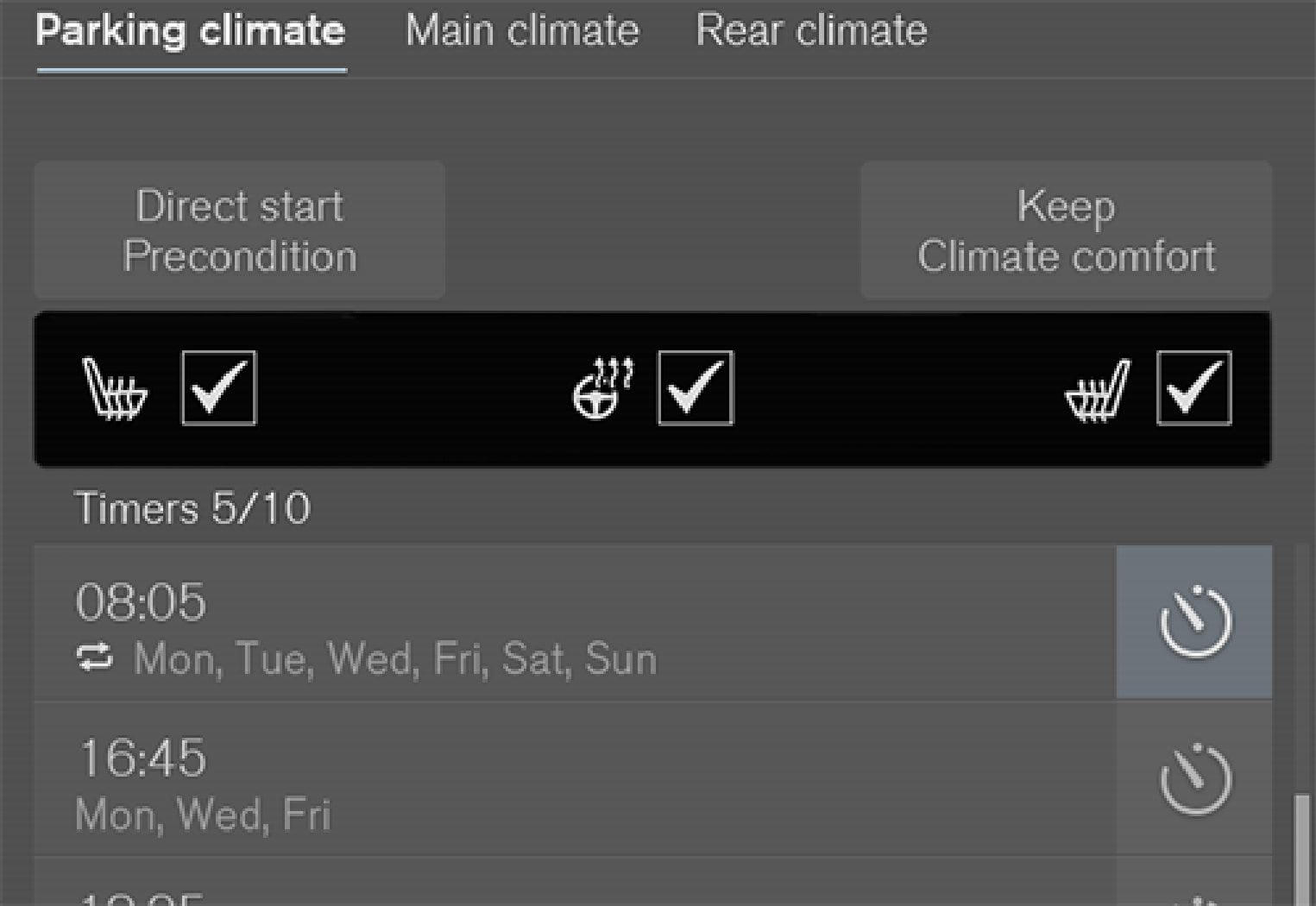 Boxes for seat heating and steering wheel heating in the Parking climate  tab in the climate view.