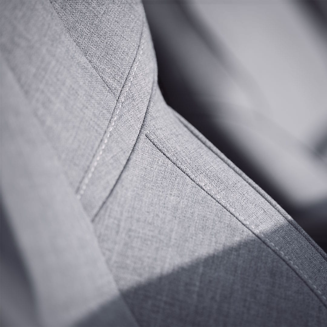 Interior close-up of the leather-free wool blend seats in an XC60.