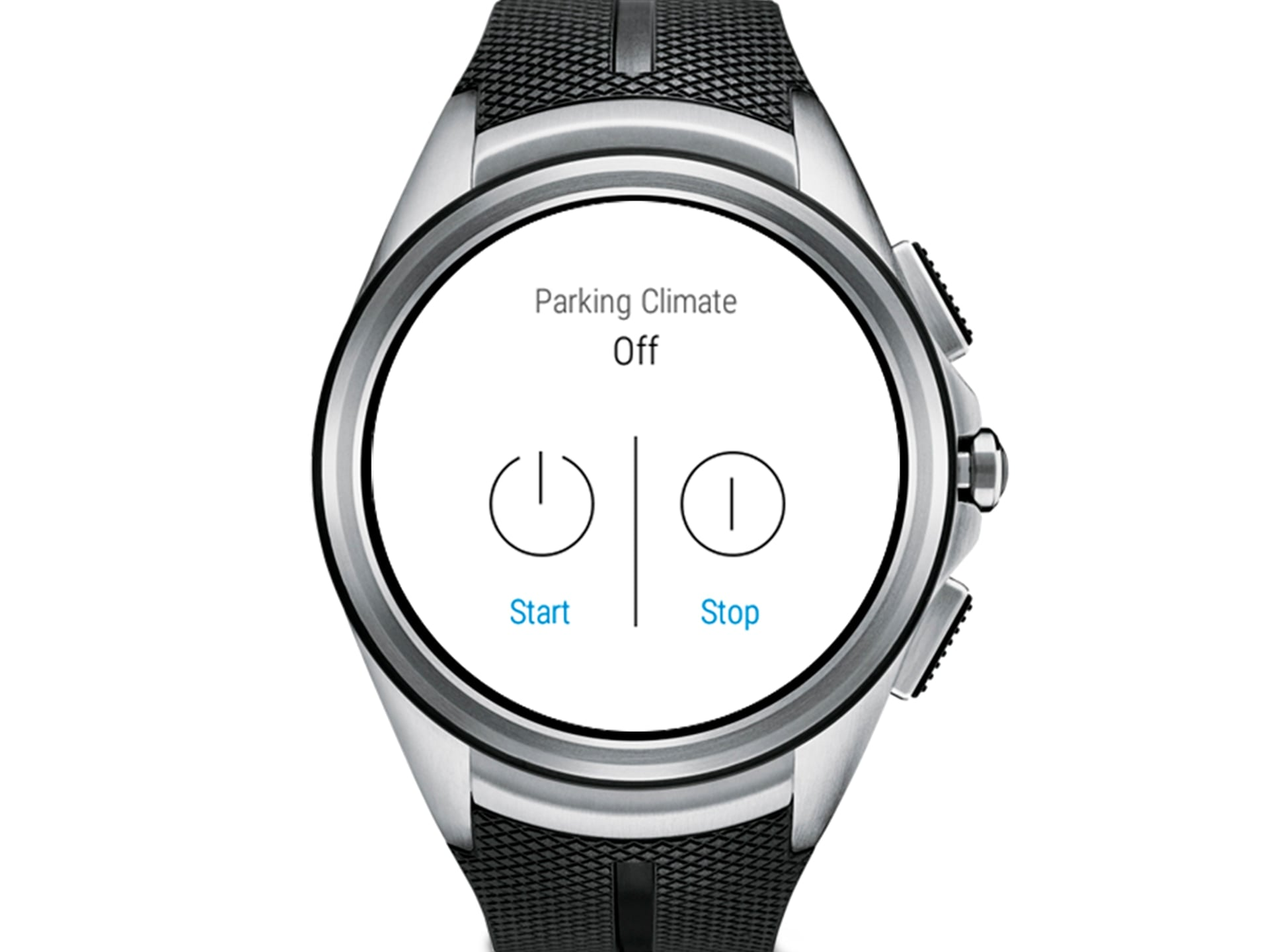 A close up of a smartwatch with a black rubber band, displaying Parking Climate