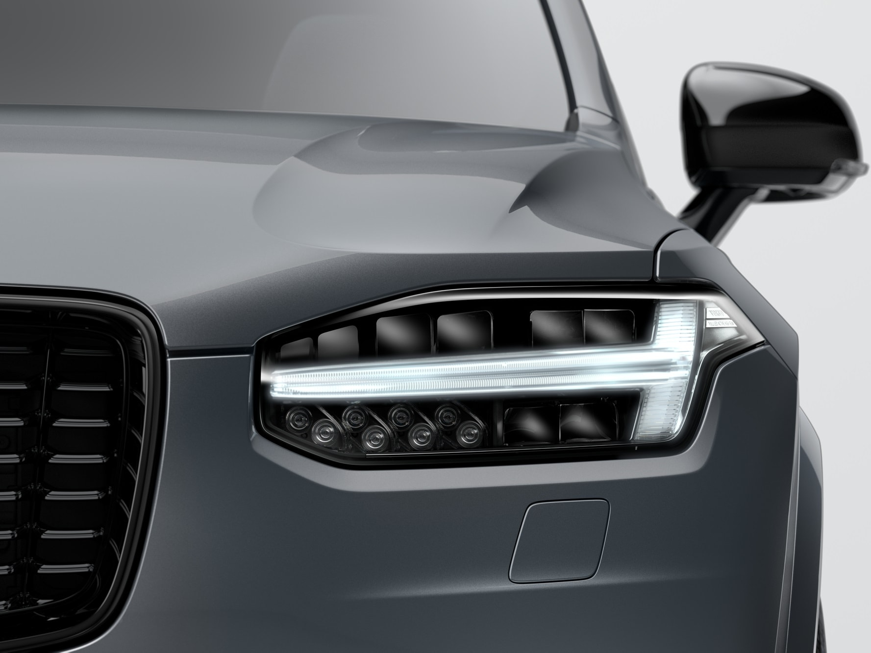 Front view of headlight lamp of Volvo XC90 Recharge