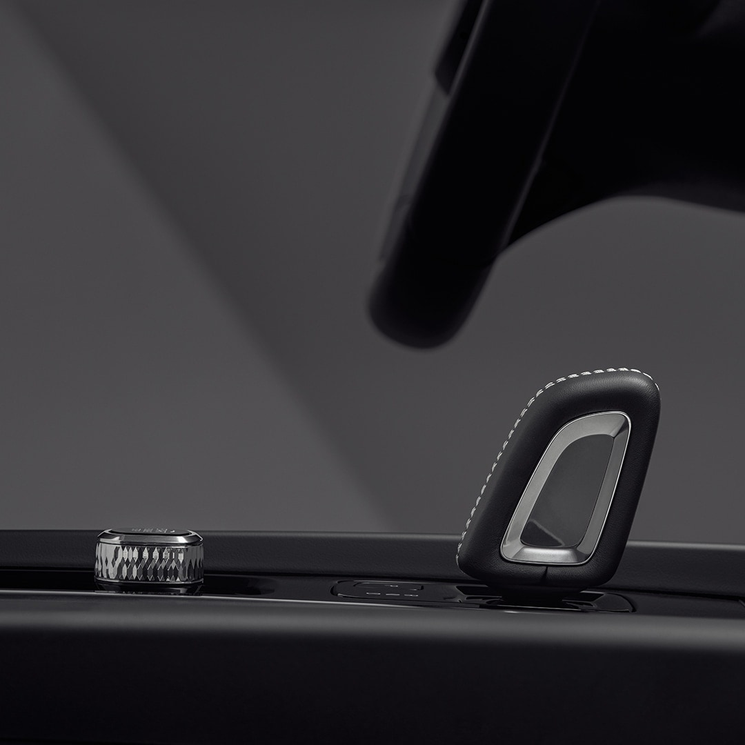A close up of a gear shifter inside a Volvo