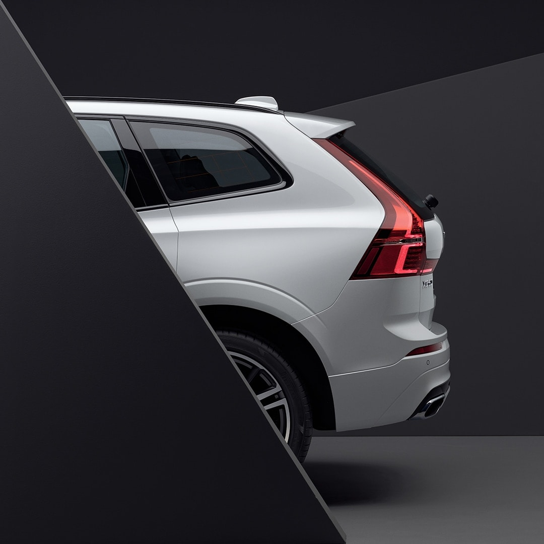 The rear exterior of a white Volvo XC60