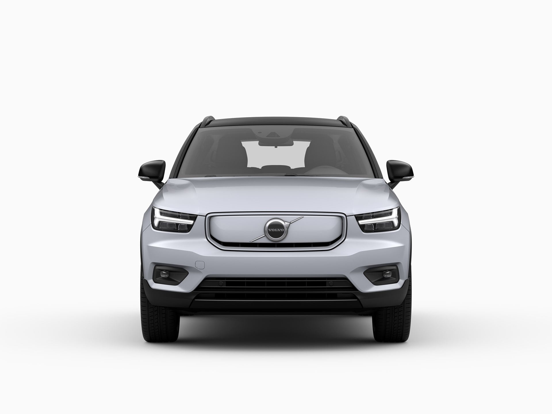 The front of a Volvo XC40 Recharge electric SUV.