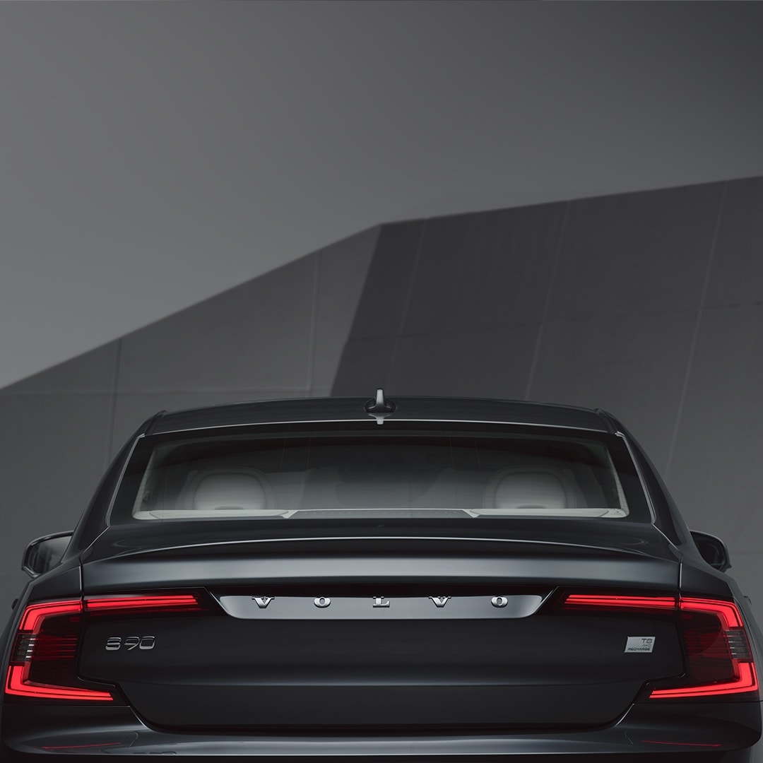 The back exterior of a Volvo S90 Recharge
