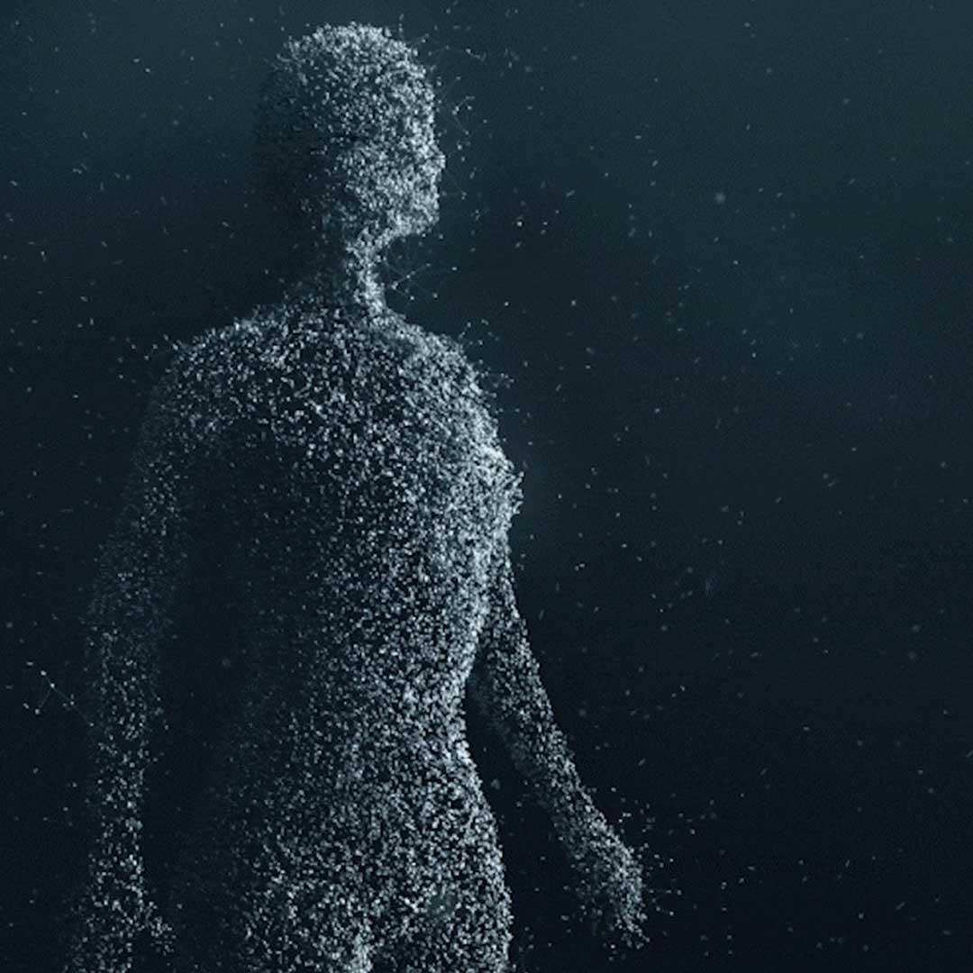 Iniciativa E.V.A. společnosti Volvo Cars – tvar lidské postavy tvořený malými světlými částečkami.