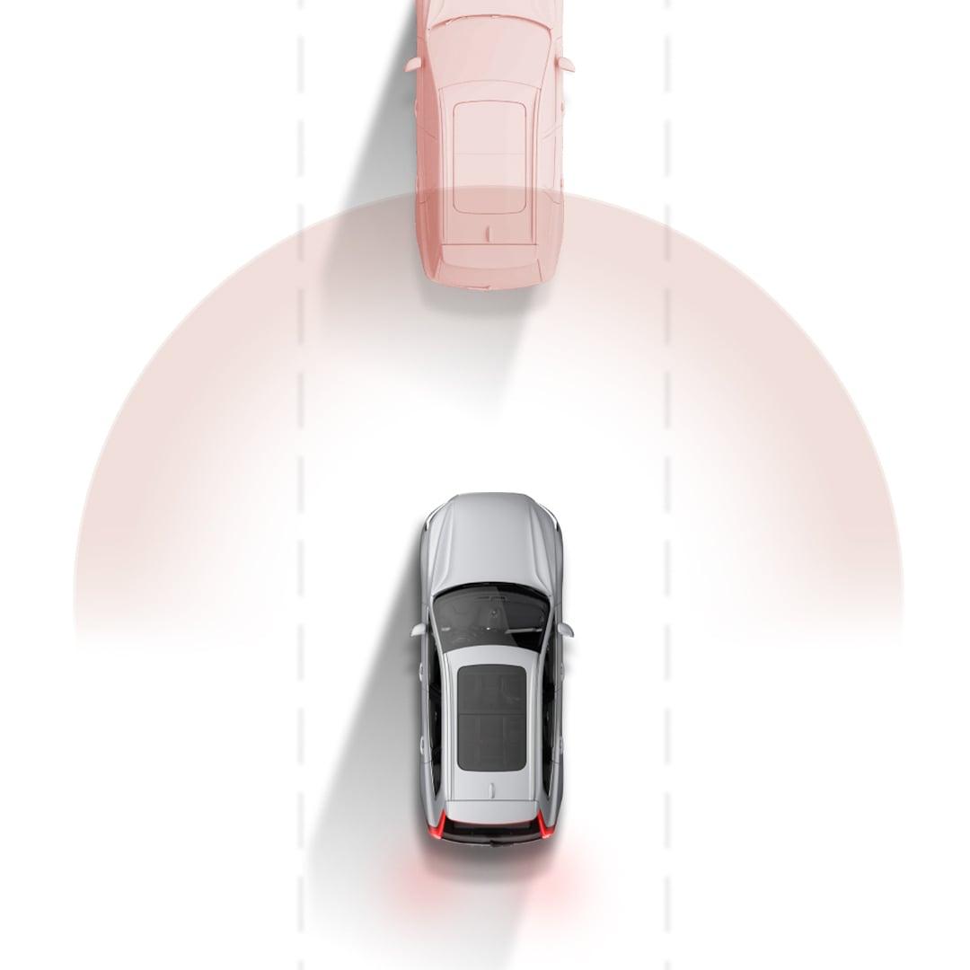 Das Notbremssystem City Safety von Volvo in einer grafischen Darstellung.