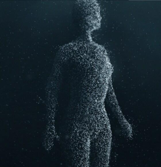 E.V.A. Initiative von Volvo Cars - eine humanoide Form, die aus kleinen Lichtpartikeln besteht.