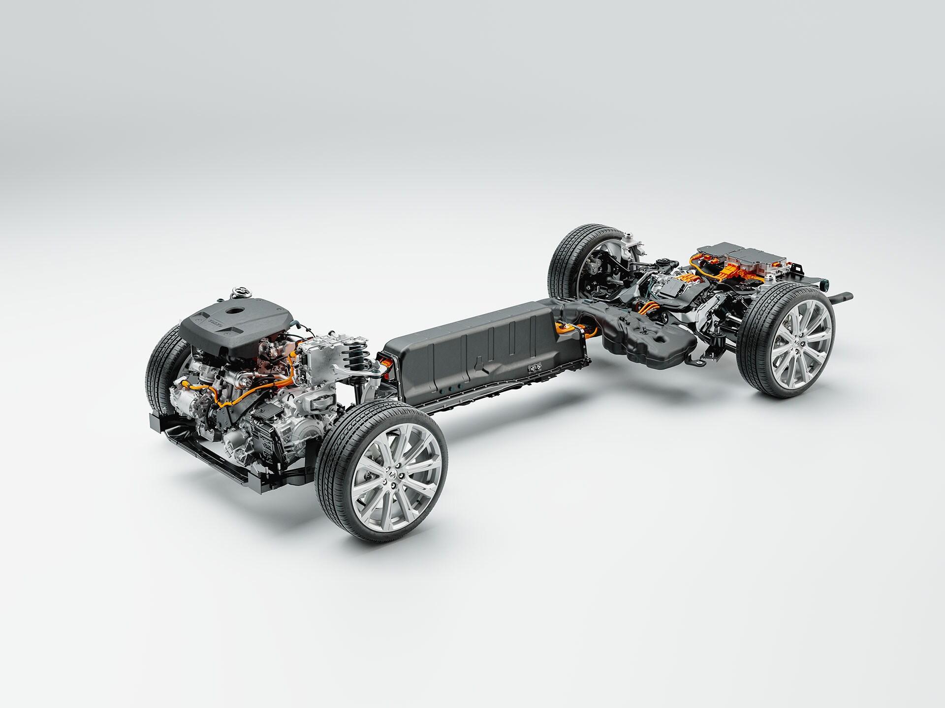 Technische Detailaufnahme von Fahrgestell, Batterie und Antrieb eines Volvo Plug-in Hybrid.