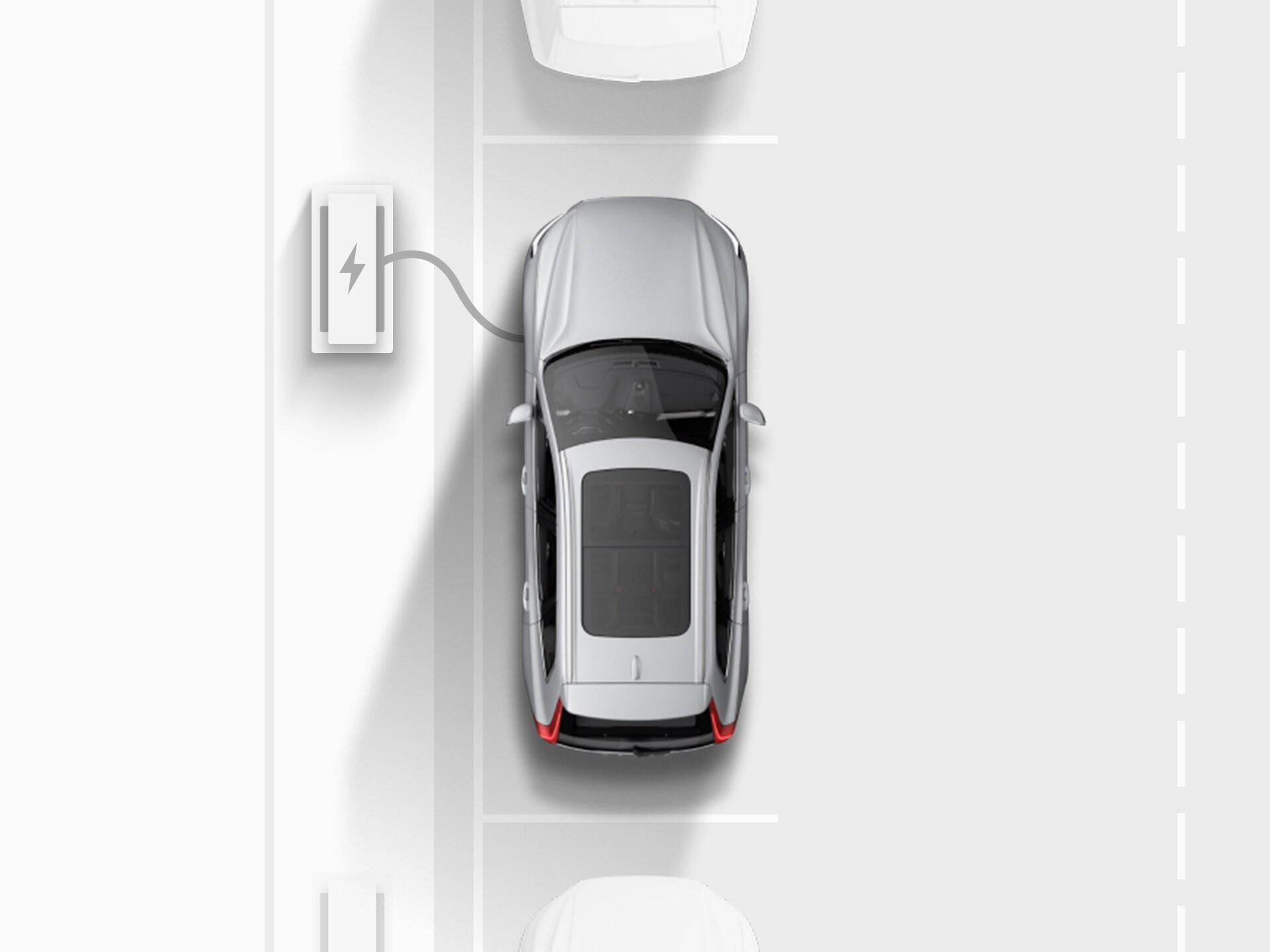 Digitale Zeichnung mit der Draufsicht eines silberfarbenen rein elektrischen Volvo XC40 Recharge SUV, das an einer öffentlichen Straße parallel geparkt und an einer Ladestation angeschlossen ist.