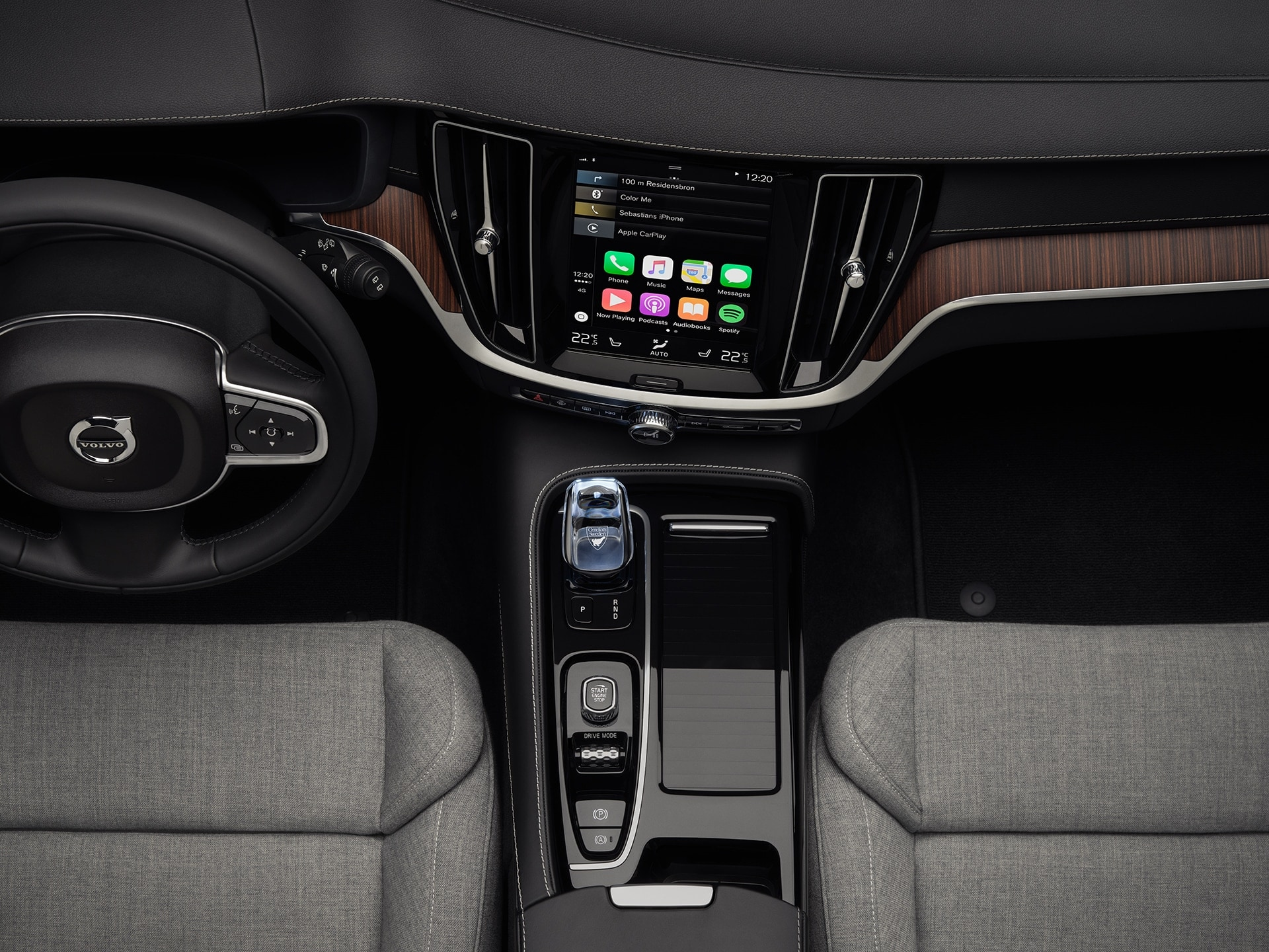 The interior of a Volvo V60, grey wool blend on seats