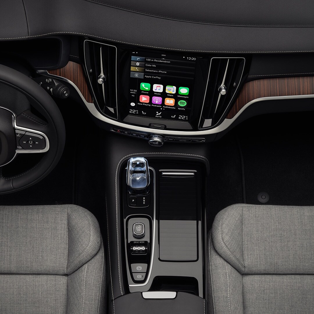 The interior of a Volvo V60 Recharge, grey wool blend on seats