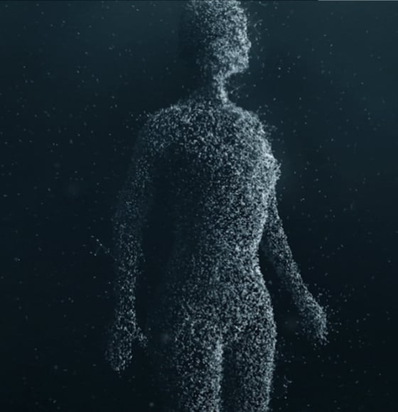 Volvo Cars' EVA initiative – a humanoid shape, consisting of small light particles.