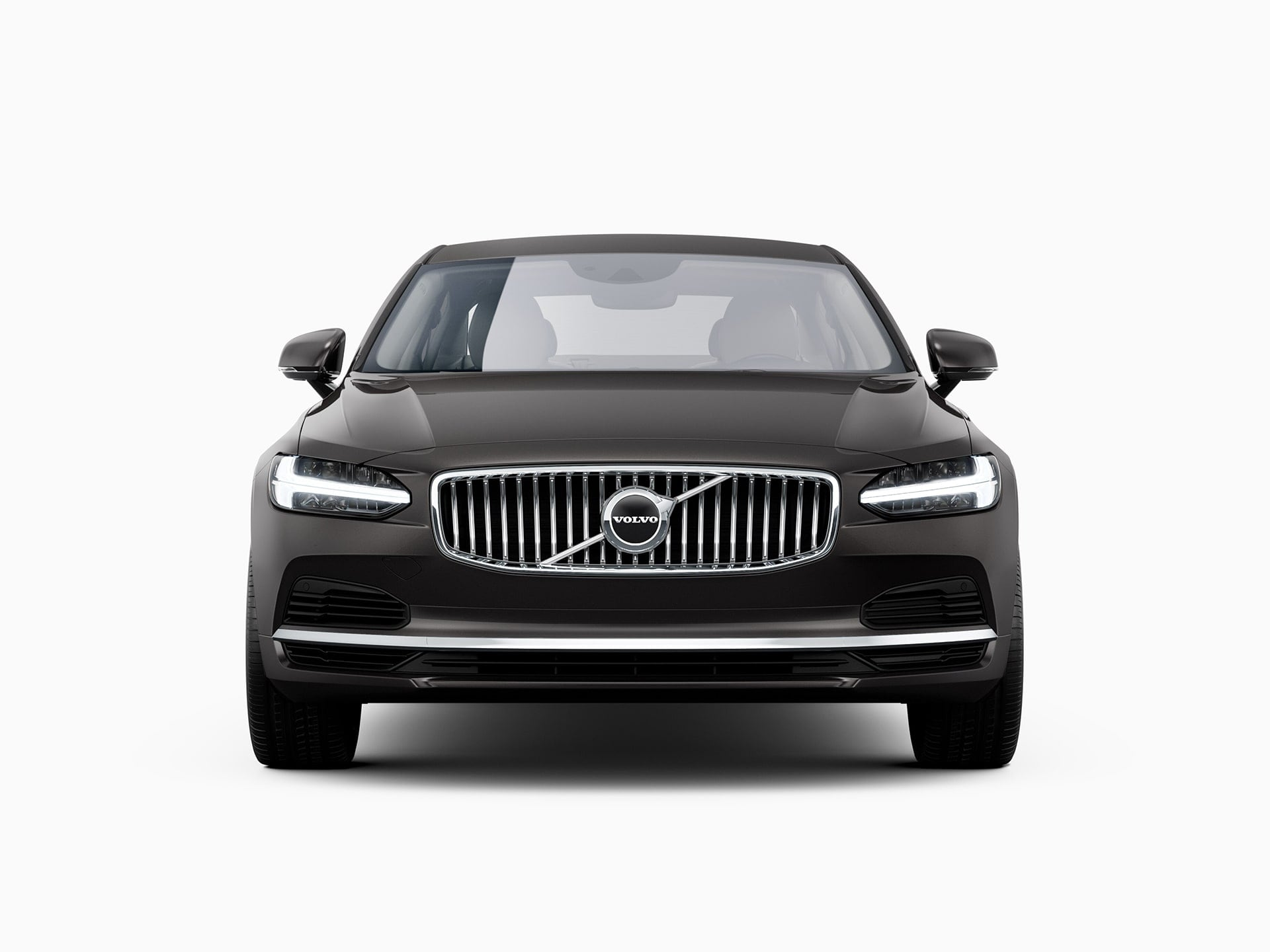 The front of a Volvo S90 Recharge plug-in hybrid sedan.