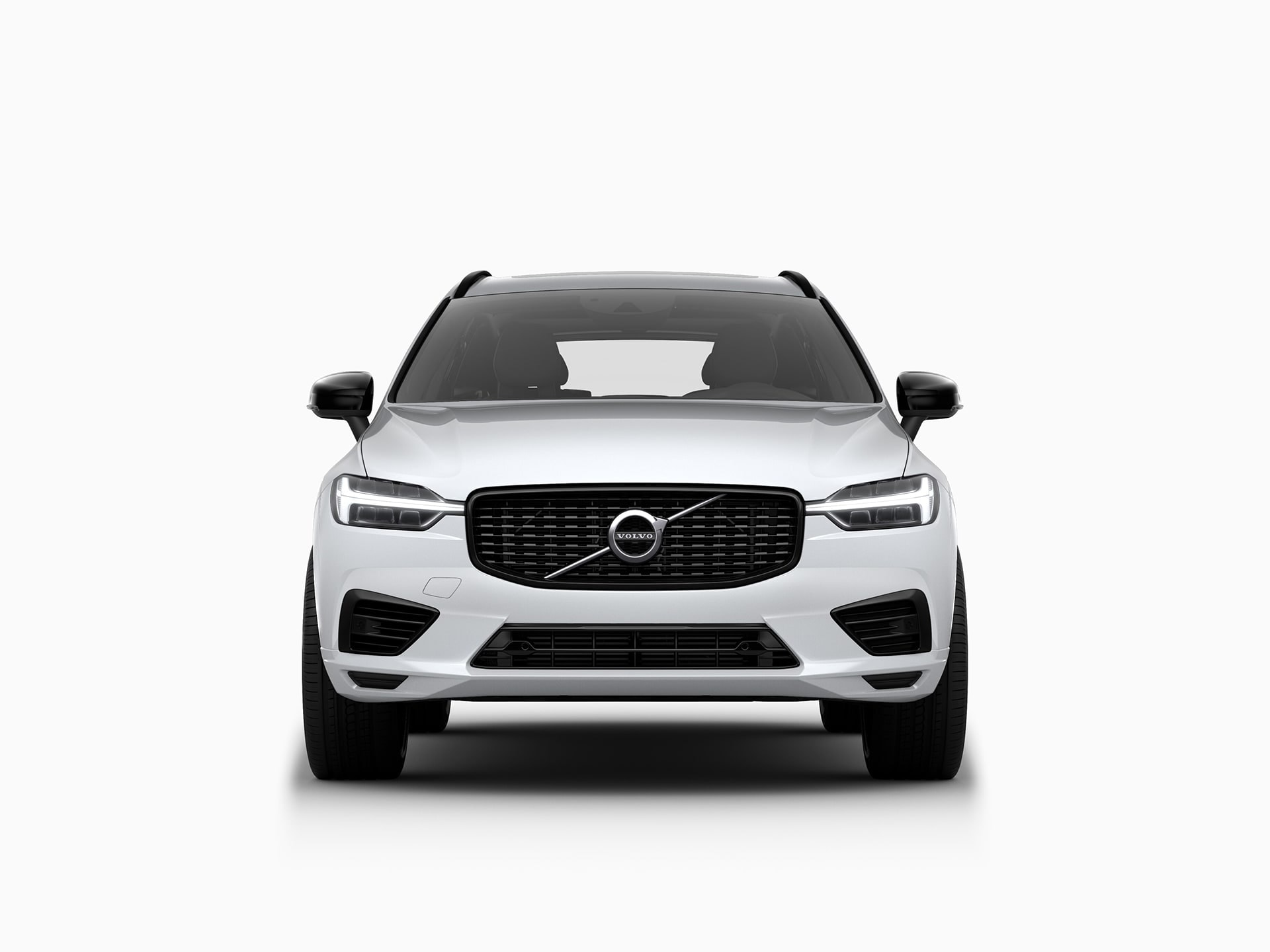 The front of a Volvo XC60 Recharge plug-in hybrid SUV.