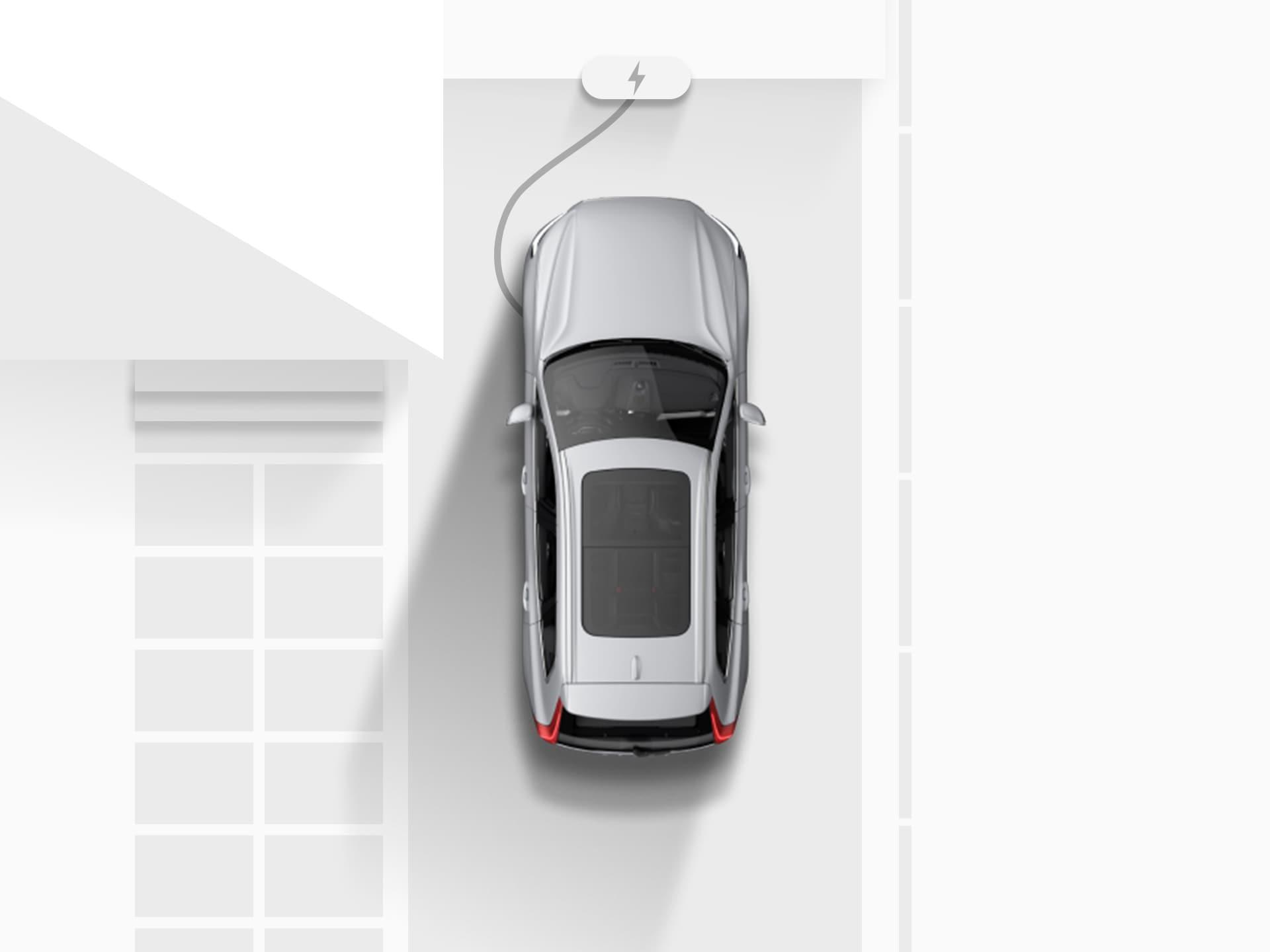 Plano general de un dibujo digital de un SUV Volvo XC40 Recharge totalmente eléctrico plateado enchufado y cargándose en la entrada de una casa.