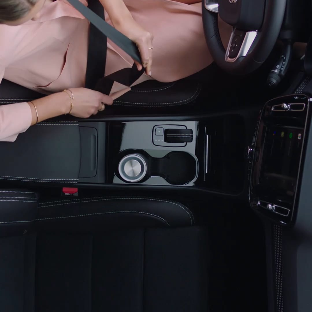 Inside a Volvo XC40 Recharge with black interior.