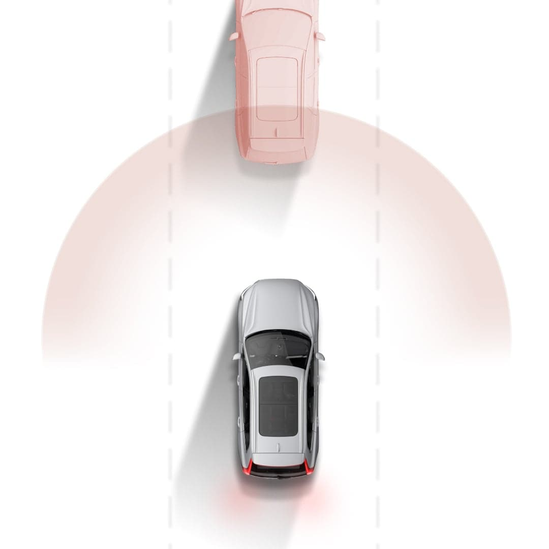 Volvo Cars' City safety system graphically illustrated.