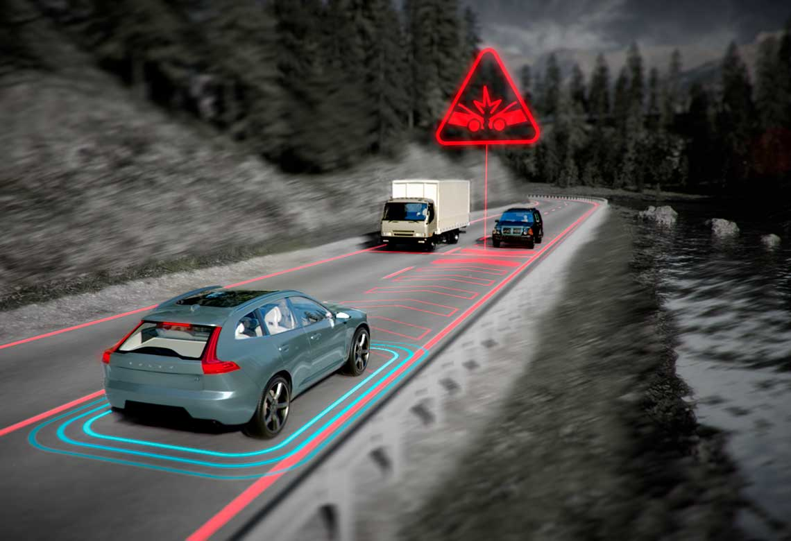 Volvo Cars' Oncoming mitigation by braking system graphically illustrated.